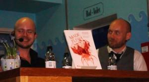 Steffen Larsen og Christian Reslow taler med TK og LK om Made Flesh lille